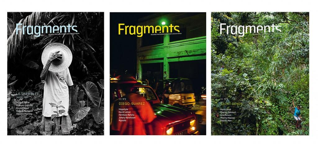 Couvertures des trois premiers numéros de Fragments.